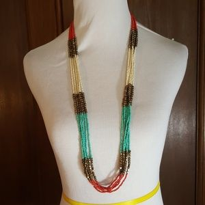 GUC Multiple Strand Turquoise/Coral Necklace